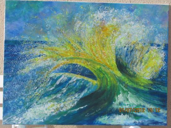 Soleil dans une vague