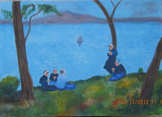 Bretonnes au bord de la mer